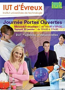 """En 2010 - 2011, l'IUT d'Evreux (Eure - Haute Normandie) vous ouvrira ses portes à l'occasion de 3 journées """"portes ouvertes"""" :"""