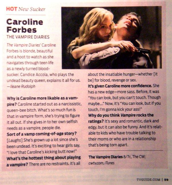 Caroline Forbes est la 'Hot New Sucker' de TV Guides ! Avec en prime une petite interview !^^ C'est en anglais mais dîtes le moi si vous voulez une traduction^^