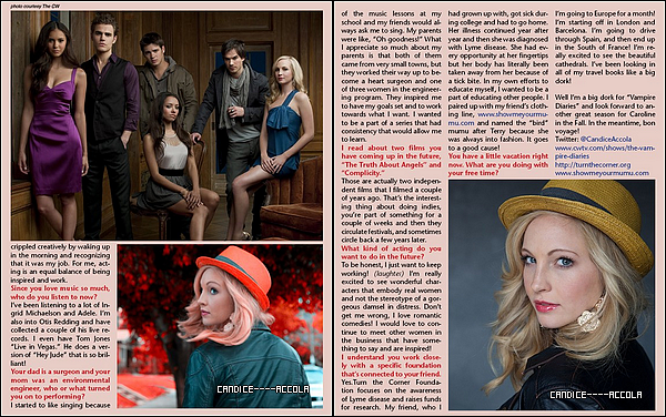Interview de Candice Accola dans LA Teen Festival The Magazine + Candice à la convention à Barcelone!  Une interview de six pages consacrée à notre Candice Accola où elle nous raconte des tas de choses sur elle ou sur The Vampire Diary + Candice était présente à la convention « Bloody Night Con » à Barcelone en compagnie de ses co-stars Paul Wesley et Ian Somerhalder!