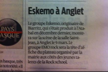Eskemo dans le journal Sud Ouest