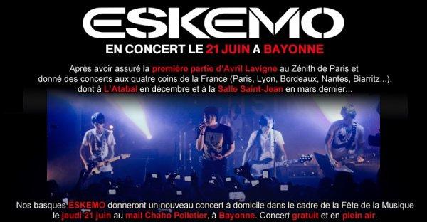 Eskemo - Concert gratuit pour la fête de la musique de Bayonne