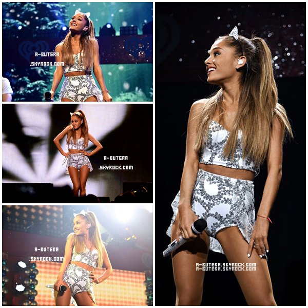 . 19/12/2014 :Ariana était auHOT 99.5'sJingle Bell Ball Show 2014. Côté look j'adore, sa tenue est magnifique ça lui va super bien, pour la coiffure et le maquillage j'adore, pour moi c'est un top ! .