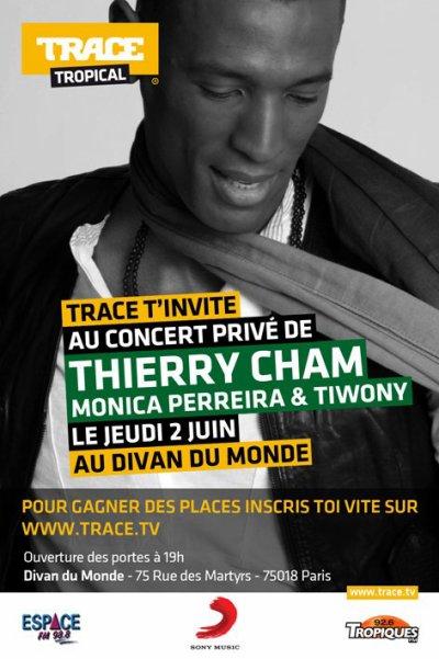 Inscrit toi sur le site de Trace TV tu auras ton invite pour mon concert privé le 2 juin au Divan du monde.