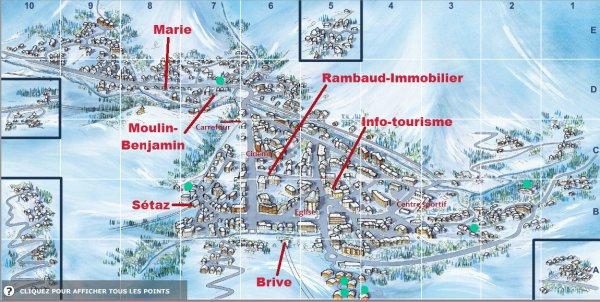Plan du village et du domaine skiable vtt chalet marie c02 louer t comme hiver - Office de tourisme de valloire ...