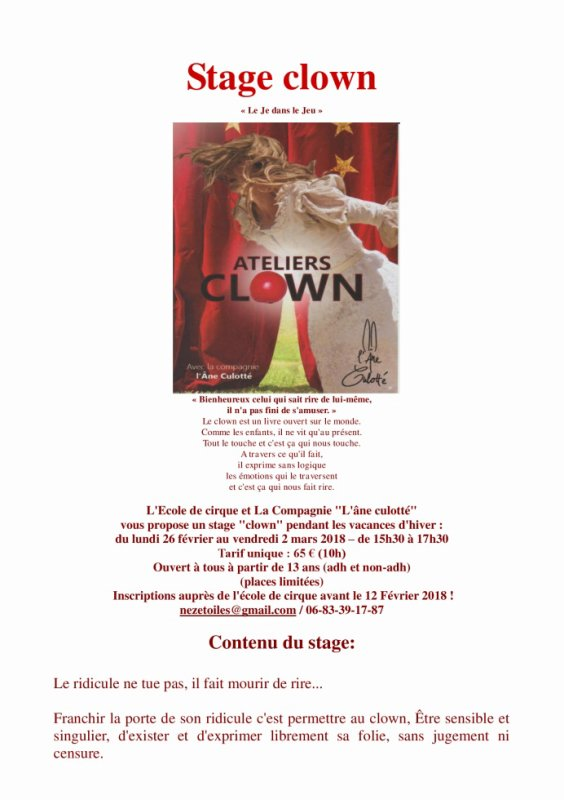 Stage Clown en février !