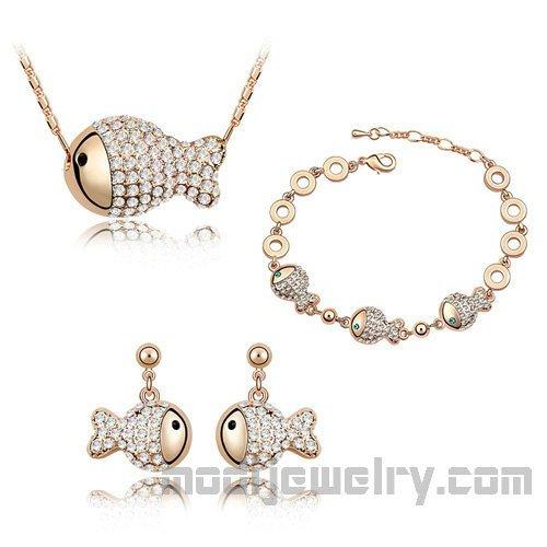 Fortune fish gold plated jewelry set beautiful crystal jewelry set women jewelry set wholesale crystal jewelry store