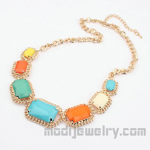 Color squares fashion necklaces trendy bib necklaces women's fashion accessories fashion jewelry hotsale
