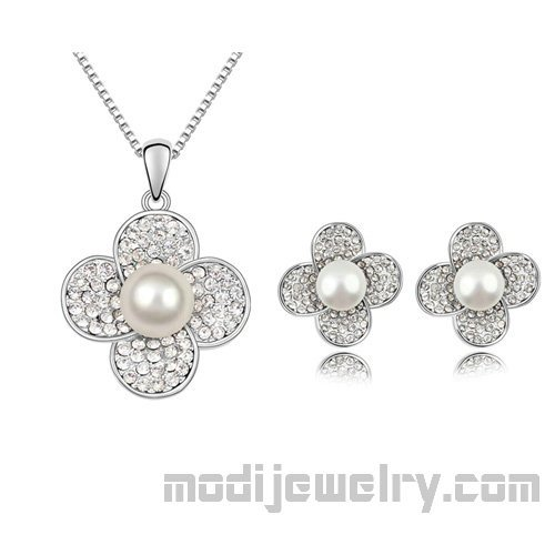 Lucky clover pearl jewelry set gold plated jewelry set hotsale jewelry set pearl 2pcs set jewelry buy jewelry set pearl necklaces pearl earrings