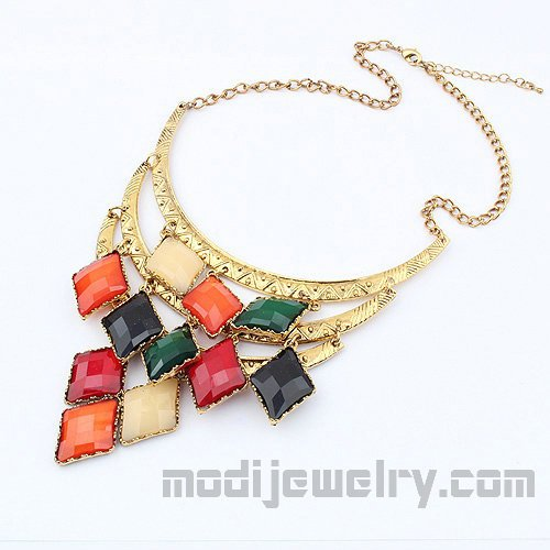 Hotsale multicolor necklaces vintage jewelry store color retro necklace trendy jewelry online chic necklace