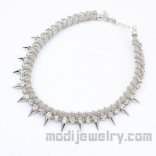 Rhinestone punk necklace silver color fashion choker necklace trendy fashion jewelry online fashion jewellery shop