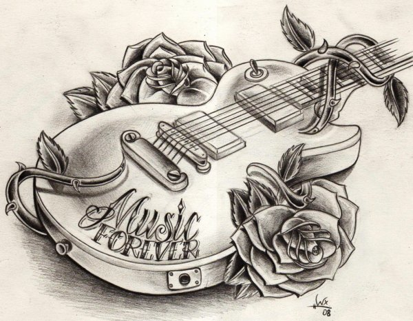 tatouage de guitare