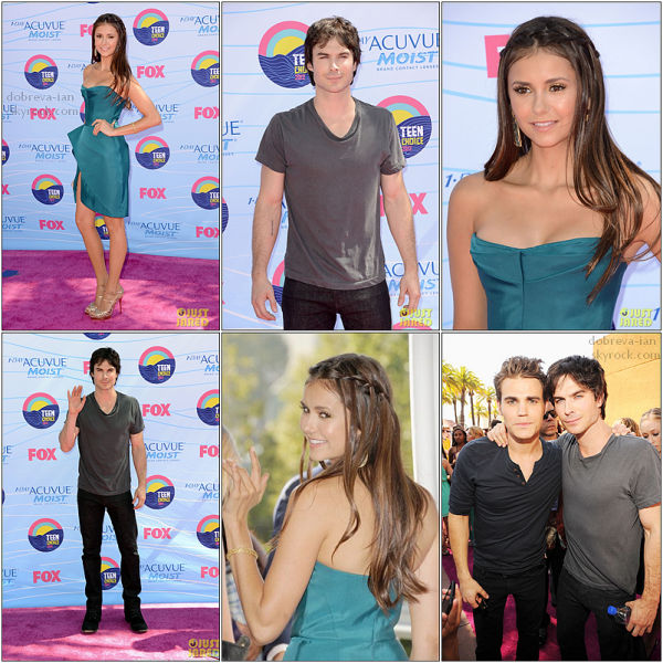 22.07.12: Nina & Ian était présent aux Teen Choice Awards à Los Angeles hier soir. Le cast de Vampire Diaries a remporté 6 awards sur 7 nominations.