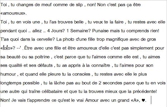 """L'amour, avec un grand """"A""""?."""