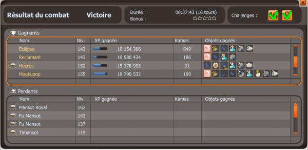 Record d'xp pour l'instant en un seul combat.