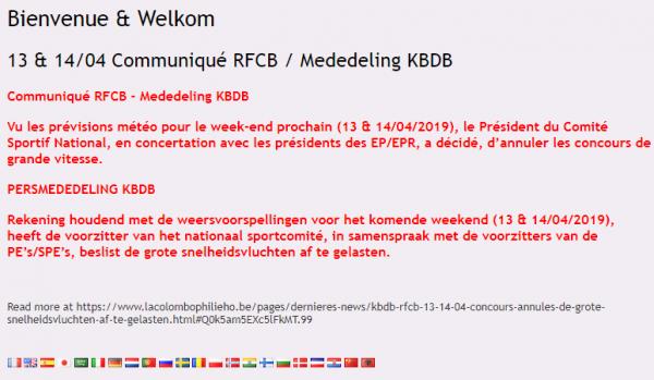 La belgique  annule  les concours grande vitesse du weekend