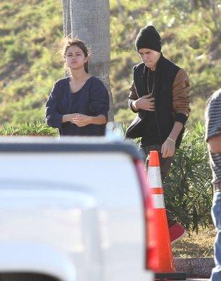 Le 12 mars 2012 Selena et Justin lors d'un tournage à St Petersburg en Floride.