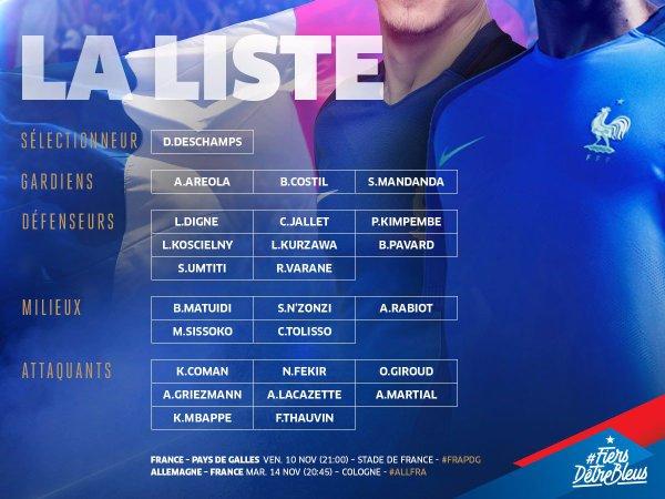 Voici la liste de Didier Deschamps contre le Pays Galles et contre L'Allemagne