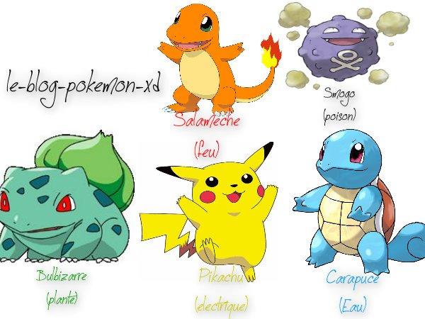 Voici quelques types de pokemon