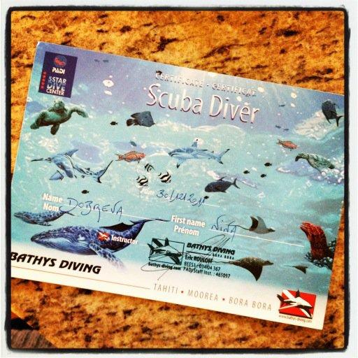 05/01/2012 Nina a twitter : Au-delà d'excité de partager que je suis officiellement un PADI Open Water  PLONGEUR CERTIFIÉ!