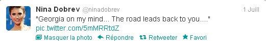 """01/07/2012 Nina a twitter : """"Géorgie sur mon esprit... La route mène de nouveau à vous...."""""""