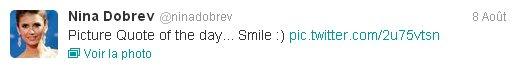 07/08/2012 Nina a twitter : Citation Photo Du Jour dédié a @gabrielledoug - kickass aujourd'hui Chickita! Xo