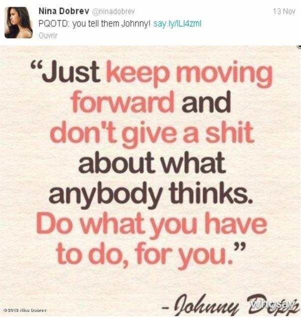 12/11/2012 Nina a twitter : Juste posté une photo