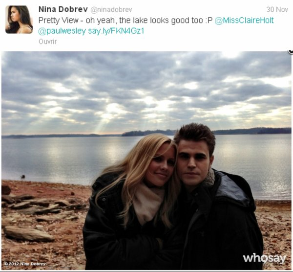 "30/11/2012 Nina a twitter : Juste ""suspendu"" sur le tournage. #seewhatididjustthere?"