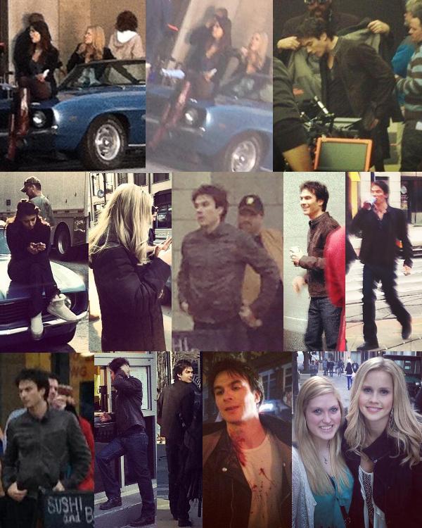 Le 06/02/2013 Nina, Ian & Claire sur le set de TVD pour tourner l'épisode 4x17