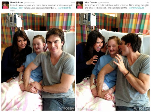 """30/03/2013 Nina & Ian sont allés rendre visite à Kayla  une adolescente en attente d'une greffe de poumons hospitalisée au """"Hospital for Sick Children"""" un hopital de maladie enfantine à Toronto au Canada"""