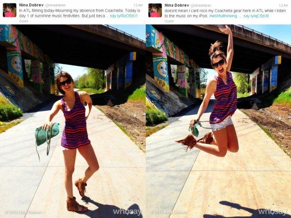 11/04/2013 Nina a twitter : Juste Chillen avec un Oiseau Gris Africain sur mon épaule. Quoi ? N'est-ce pas normal?
