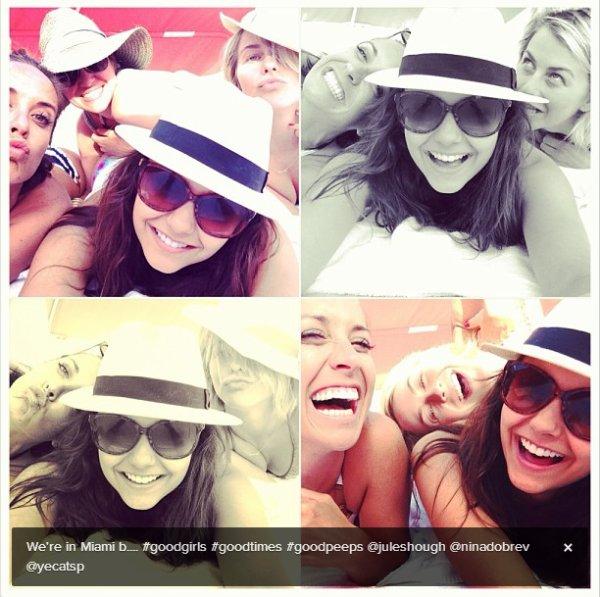 27/04/2013 Nina a été vue montant dans une voiture avec Julianne Hough à Miami en Floride
