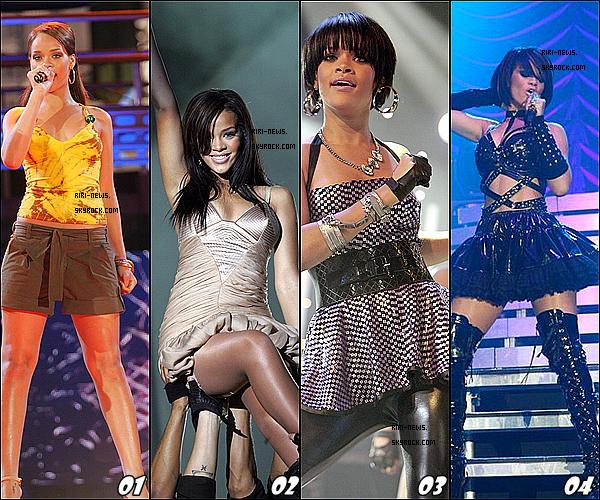 . Voici Quelques Tenue De Scene Que Rihanna a Porté,Choisie ta tenue preferé .