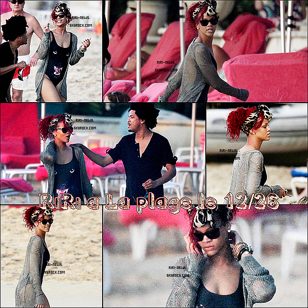 """. 26/12: Rihanna a ete vu a la plage de l'hotel """"Sandy Lane"""" en barbade .Top ou Flop??Rih' s'amuse avec ses amie et ses freres ."""