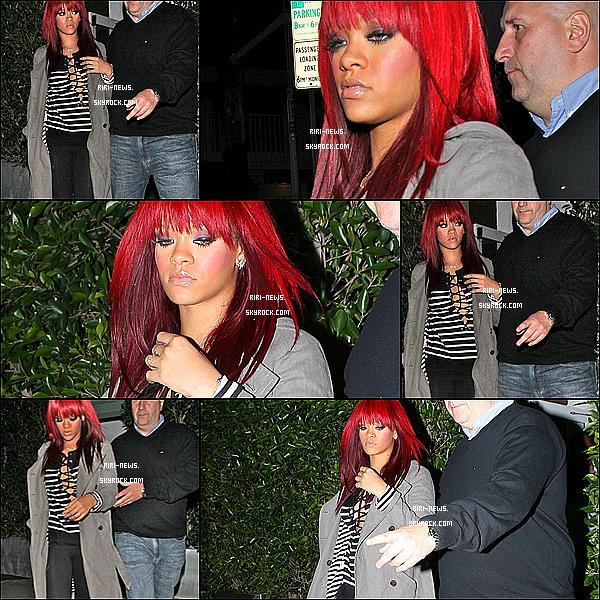 """. 08/01 Rihanna été apercue quittant le restaurant """"Giorgio Baldi"""" a Los Angeles + une nouvelle photo sur le set du videoclip de """"Fly"""" en feat. avec Nicki Minaj ."""