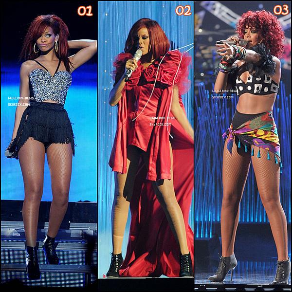 . Voici quelques tenues de scene que Rihanna a portéeChoisissez votre tenue de scene preferée par commentaires  .