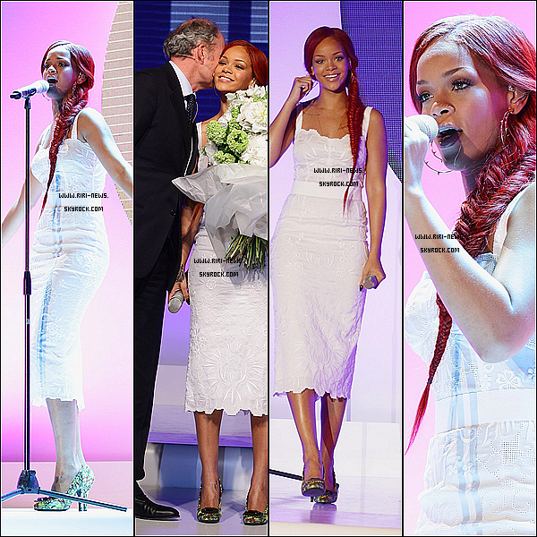 """. 05/05/11 Rihanna a chanté """"California King Bed """" a l'occasion des 100 ans de Niveau a Milan,Italie + Rihanna à l'anniversaire des 100 ans de Nivea à Paris ."""