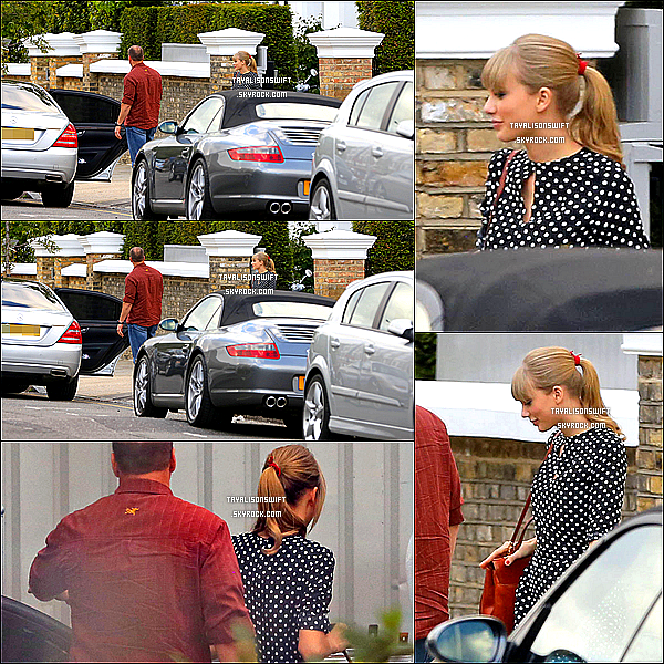 .09.06.13 : Taylor Swift vu au devant la maison de Gwyneth Paltrow dans Londres .Elle est mignonne :) .