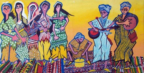 danse populaire  ( peinture a l'huile 70/80 )