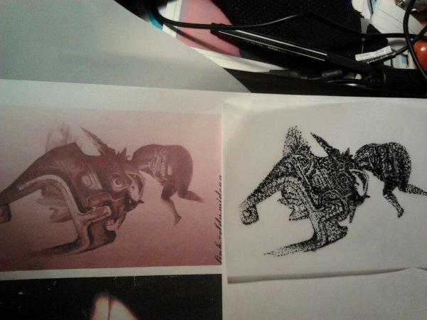 Cours de dessin a l ecole (refaire en petit point a l encre de chine une image)