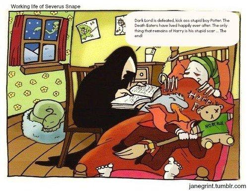 Les trois balais,harry et luna et une caricature amusante de severus rogue et voldemort  :)