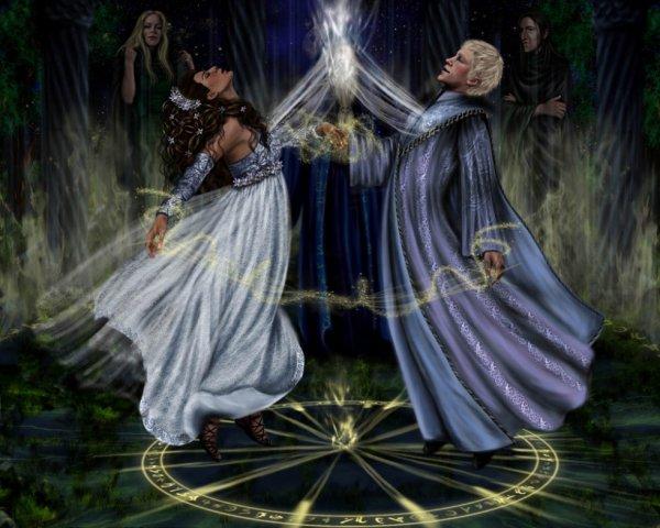 représentation d'un mariage sorcier,ici il s'agit de drago et hermione avec narcissa et rogue en arrière plan ,fanart de nejna