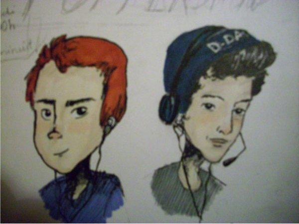 l' équipe du Pottershow (dessins dans mon carnet de croquis)