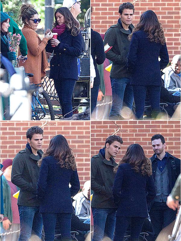 Nina et Paul étaient sur le tournage de Vampire Diaries, à Atlanta, ce 20 novembre 2014.
