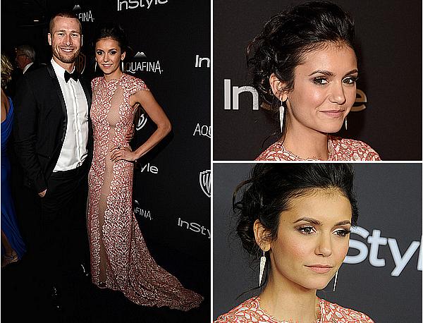 10/01/16 - Nina était présente à l'after-party InStyle des Golden Globes Awards, à Los Angeles.  Nina porte une splendide robe de Max Azria, des bijoux d'Anne Sisteron, ainsi qu'une petite pochette de Yliana Yepez.