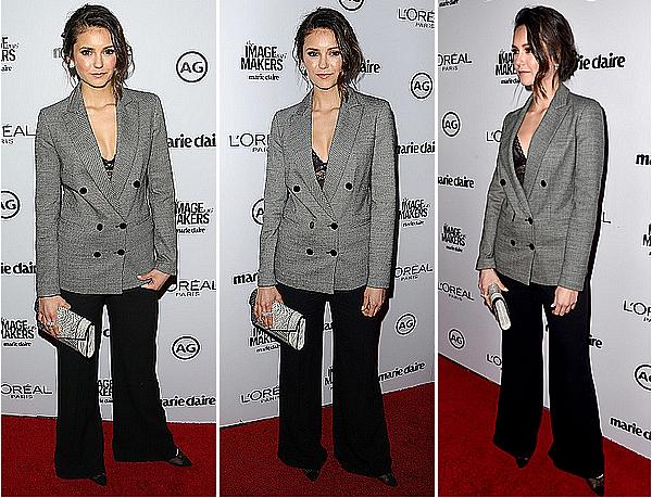 12/01/15 - Nina était présente à l'évènement « Inaugural Image Maker Awards », à Los Angeles.  Nina porte une tenue Elie Saab, un soutien-gorge de La Perla, une pochette Yliana Yepez et quelques bijoux Swarovski.