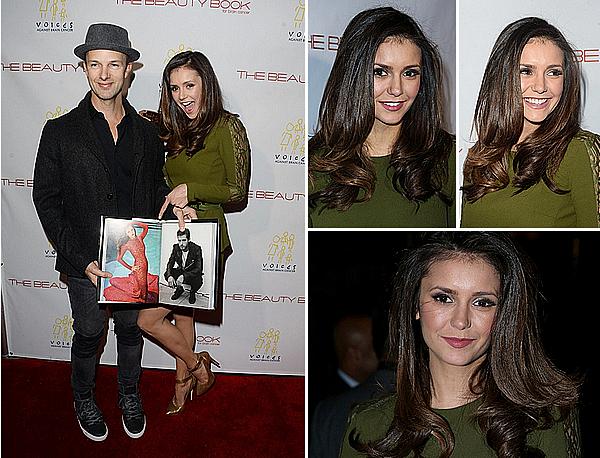 """03/12/15 - Nina était à la soirée de lancement de la 2e édition du """"Beauty Book For Brain Cancer"""".  Nina porte une magnifique robe d'Elie Saab et une pochette de Salvatore Ferragamo. Elle avait réalisé un shoot pour le livre."""