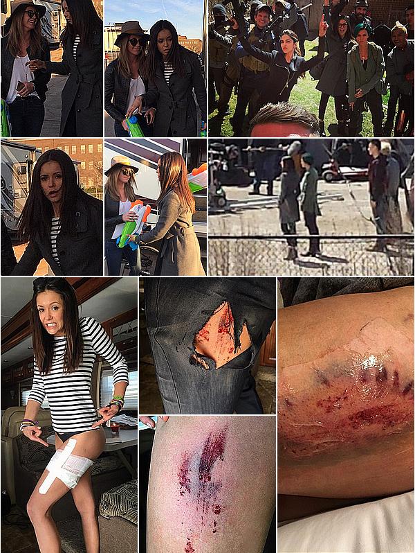 Nina a eu une longue journée de blagues et de blessures sur le set de xXx 3 ce 20 avril 2016.