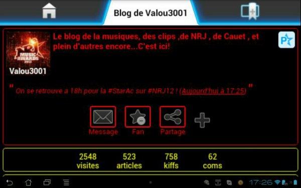 Photo de l'application Skyrock.com sur Android.