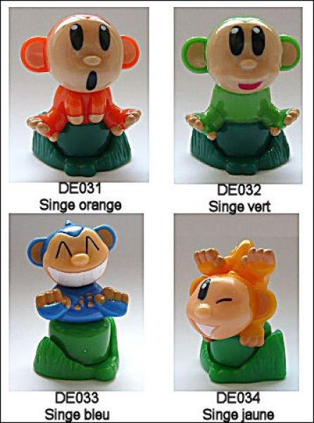 Singe tampon-encreur - Kinder Zoo - DE031 à DE034 (2009)