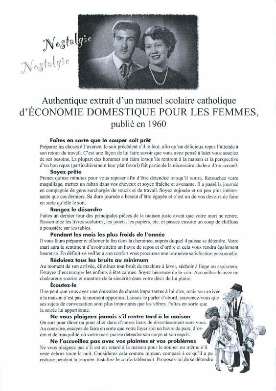 Economie domestique, 1960...